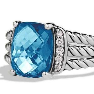 David Yurman Petite Wheaton Topaz Diamond Ring